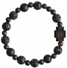Jujube Wood Rose Bead Rosary Bracelet - 10mm