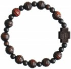 Jujube Wood Striped Cut Bead Rosary Bracelet - 10mm