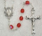July Birthstone Rosary (Ruby) - Sterling Silver