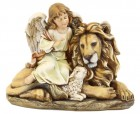 "Lion and Lamb and Angel Statue 11.5"" [RM0320]"