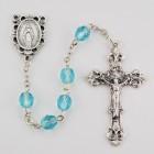 March Aqua Aurora Glass Bead Rosary