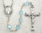 March Birthstone Rosary (Aqua) - Sterling Silver