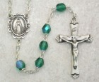 May Birthstone Rosary (Emerald) in Sterling Silver