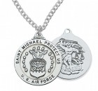 Men's Air Force Saint Michael Medal Sterling Silver of Pewter