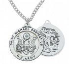Men's Army Saint Michael Medal Sterling Silver of Pewter