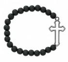 Men's Black Matte Bead and Cut Out Cross Stretch Bracelet