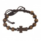 Men's Brown Wood Beads with Cross and Black Cord Bracelet