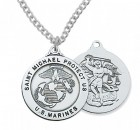 Men's Marines Saint Michael Medal Sterling Silver of Pewter