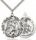 Men's Large Round Double-sided St. Michael Guardian Angel Medal