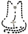 Men's St. Benedict Black Wood Rosary 7mm