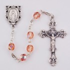 October Pink Aurora Glass Bead Rosary