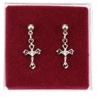 Open-Cut Crucifix Dangle Earrings