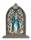 Our Lady of Grace Glass Art in Arched Frame