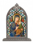 Our Lady of Perpetual Help Glass Art in Arched Frame