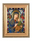 Our Lady of Perpetual Help Gold Frame Stained Glass Effect