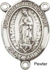 Our Lady of Guadalupe Rosary Centerpiece Sterling Silver or Pewter