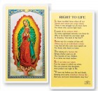 Our Lady of Guadalupe Right to Life Laminated Prayer Cards 25 Pack