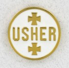 Round Usher White Lapel Pin (12 pieces per order)