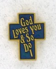 Cross God Loves You Lapel Pin (12 pieces per order)