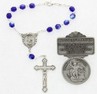 St. Michael Matching Auto Rosary and Visor Clip Set, Pewter, 7mm glass beads