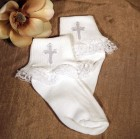 Girls Anklet Baptism Socks with Embroidered Cross