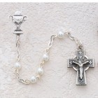 Girl's Irish First Communion Rosary in Pewter