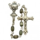 First Communion Black Pearl Rosary with Chalice Centerpiece