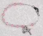 Pink Tin Cut Crystal Bracelet with Miraculous & Crucifix  [MVC084]