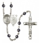 Men's Guardian Angel Army Silver Plated Rosary