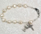 First Communion Bracelet with White Pearl Heart Shaped Beads