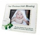 """Irish Baby Photo Frame, Hand Painted Resin, 9""""W"""