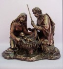 Holy Family Nativity Statue in Bronzed Resin - 8.25 inch