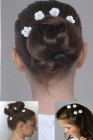 First Communion Hairpins with Satin Flowers and Rhinestones