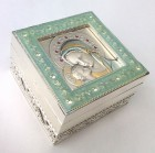 Madonna and Child Keepsake Box Green Tone