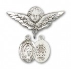 Pin Badge with Miraculous Charm and Angel with Larger Wings Badge Pin