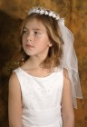 First Communion Flower Wreath Veil with Pearled Crown