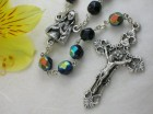 Ghirelli Black Facetted Glass Rosary with Silver Plated Pendant