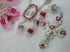 Ghirelli Ruby Red Facetted Glass Rosary with Rosebud Enameled Crucifix