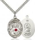 Men's Oval Sacred Heart Pendant with Birthstone Options