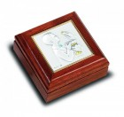 Salerni Sterling Silver & Walnut First Communion Keepsake Box - Boy