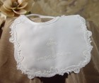 Girls Poly Satin Baptism Bib with Puff Ink Cross & Venise Lace