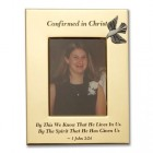 Brass Confirmation Photo Frame with Pewter Dove