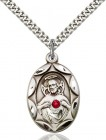 Oval Etched Scapular Pendant with Birthstone Options [BLST0801]