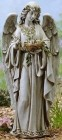 Garden Angel Holding Bird Nest Statue 24""