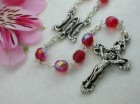 Ghirelli Ruby Red with Aurora Borealis Effect Rosary and Baroque Pendant