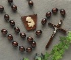 Dark Brown Wood Wall Rosary - 60 inch
