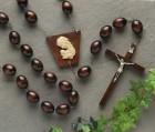 Dark Brown Wood Wall Rosary - 60 inch