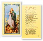 Lovely Lady Dressed In Blue Laminated Prayer Cards 25 Pack