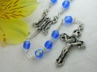 Ghirelli Sapphire Facetted Glass Rosary with Baroque Pendant