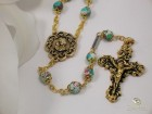 Ghirelli Aquamarine Glass Rosary with Goldtone Pendant